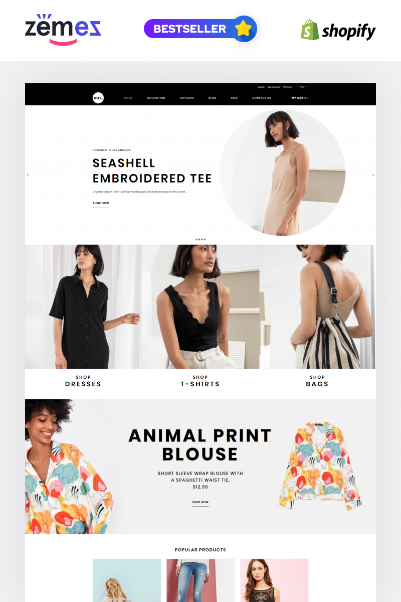 """DOT. - Women's Fashion & Clothing eCommerce Elegant"" - адаптивний Shopify шаблон №83880"