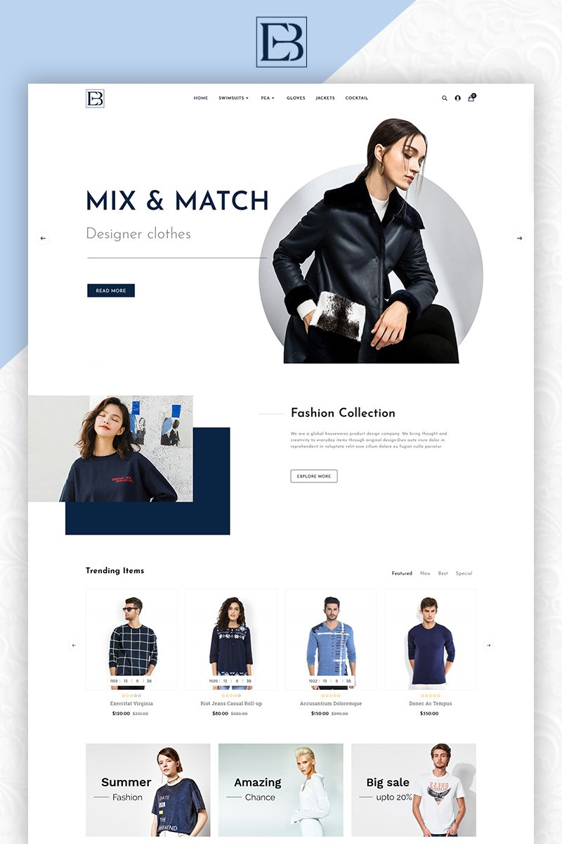 Eb Fashion Multistore OpenCart sablon 83801 - képernyőkép