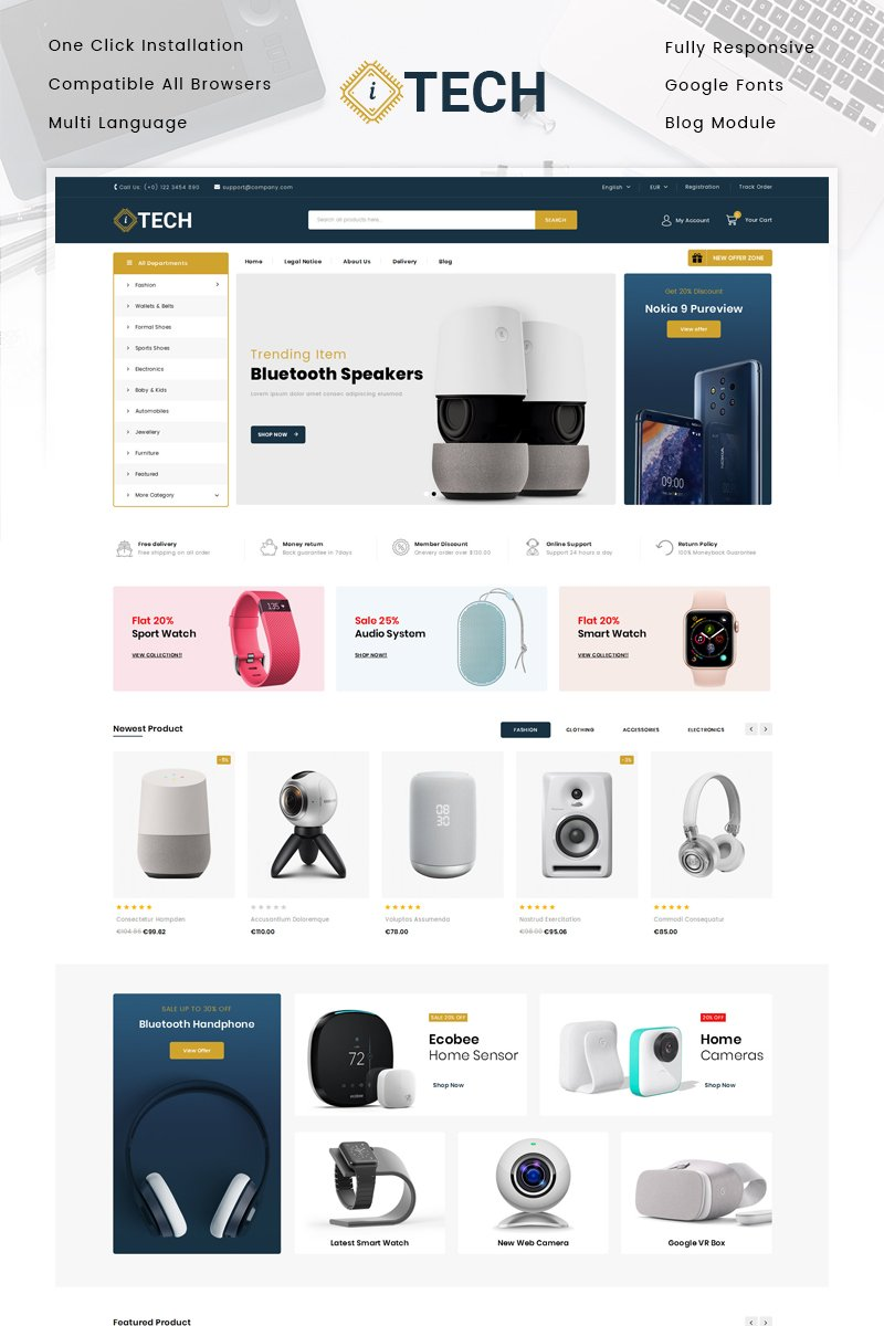 """ITech - Electronics Store"" 奖金PrestaShop模板 #83892"