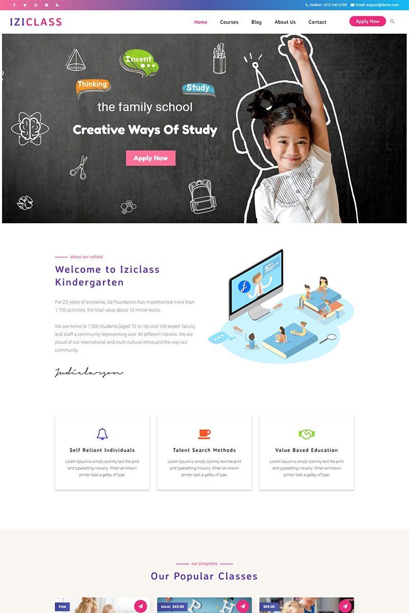 """""""Iziclass - Kindergarten and Preschool"""" BootstrapWordPress模板 #83865"""