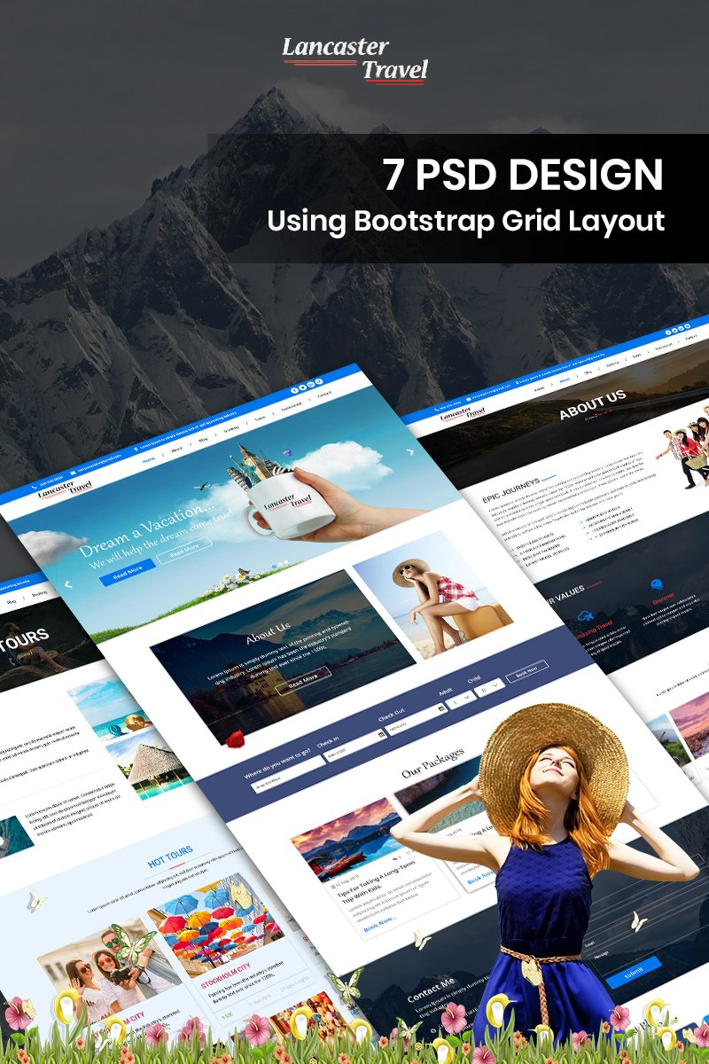 """""""Lancaster Travel - Travel Services"""" Bootstrap PSD Template №83899"""