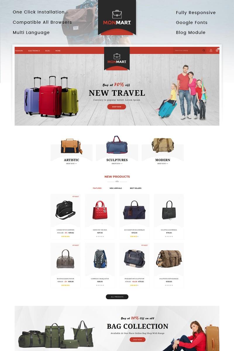 """MonMart - Bags Store"" 奖金PrestaShop模板 #83890"