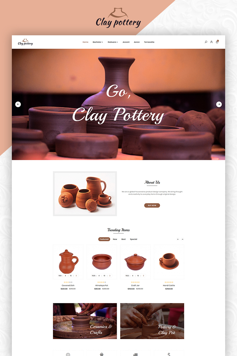 """Pottery Pot Ceramics Art Store"" thème OpenCart adaptatif #83856"