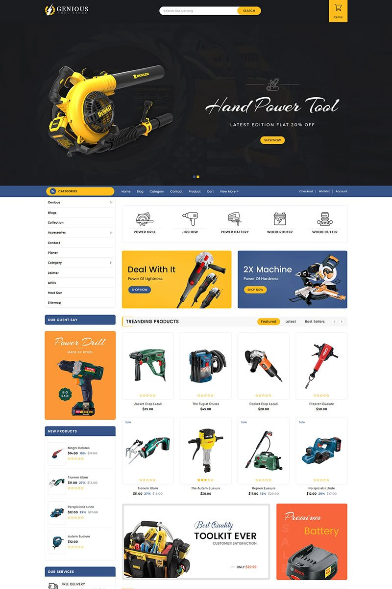 Responsivt Genious Tools Sectioned Shopify-tema #83886