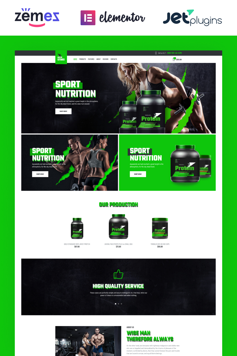 Responsivt NutriStorx - Sports Nutrition Shop Elementor WooCommerce-tema #83878 - skärmbild