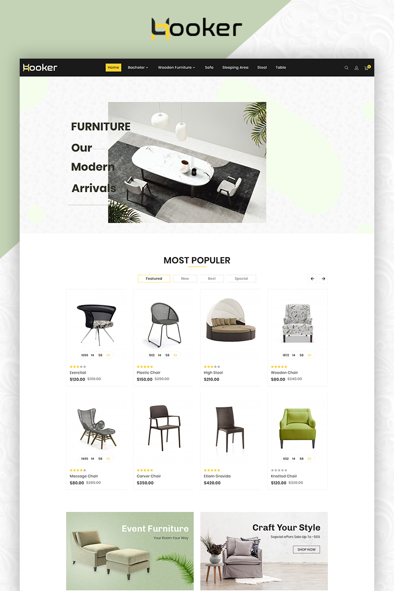 Responsywny szablon OpenCart Hooker Furniture Premium Shop #83862