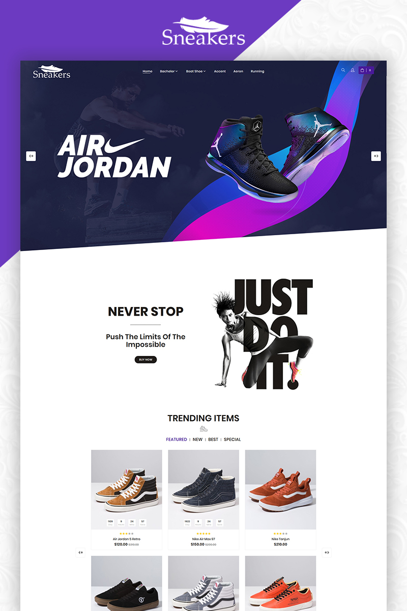 Sneakers Shoes Store Multi-Purpose Template OpenCart №83855 - screenshot