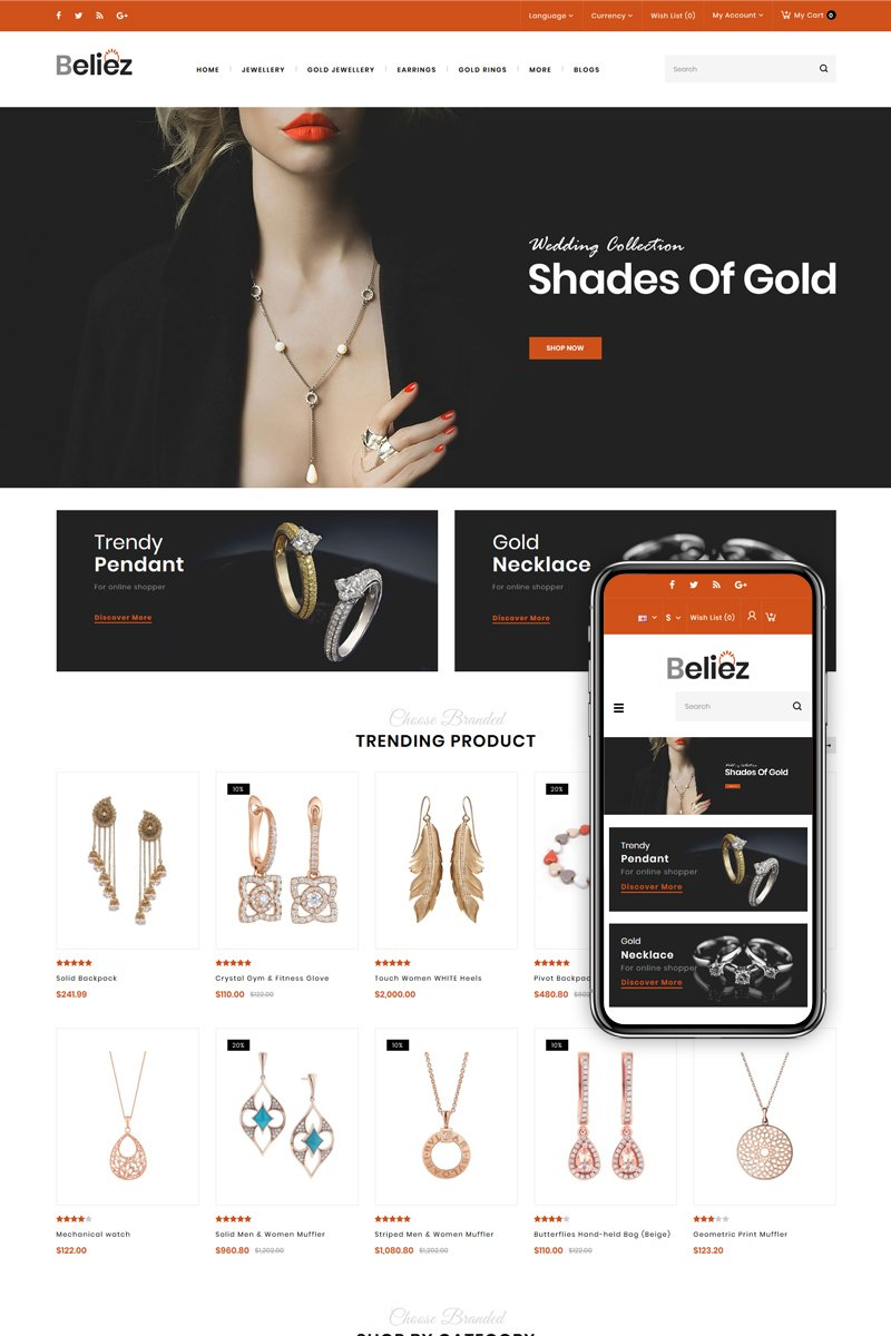 "Tema OpenCart Responsive #83877 ""Beliez - Jewelry & Diamond Store"""