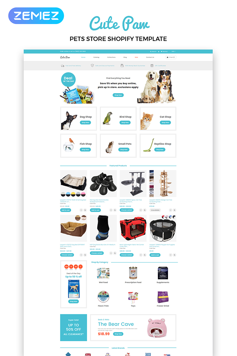 "Tema Shopify ""Cute Paw - Pet Store Multipage Clean"" #83881"
