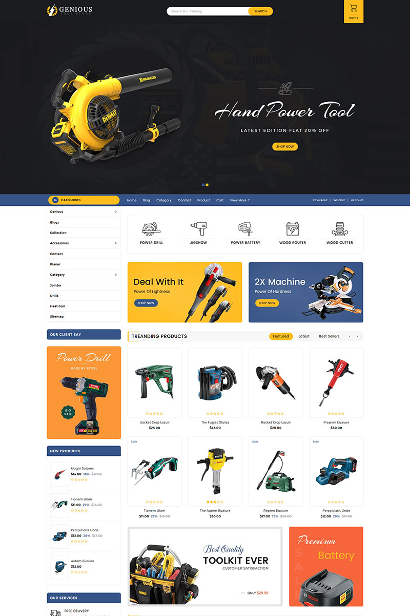 "Tema Shopify Responsive #83886 ""Genious Tools Sectioned"""