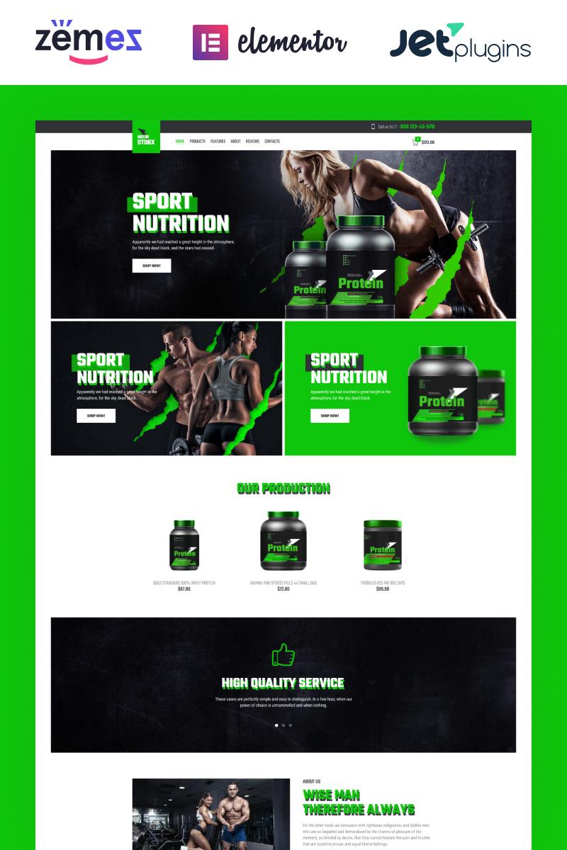 "Tema WooCommerce ""NutriStorx - Sports Nutrition Shop Elementor"" #83878 - captura de pantalla"
