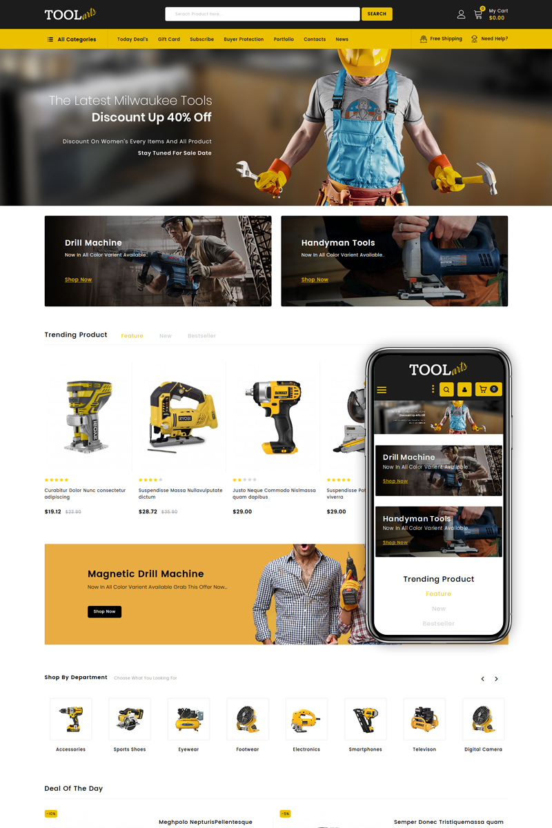 """ToolsArts - Power Tools Store"" - адаптивний PrestaShop шаблон №83889"