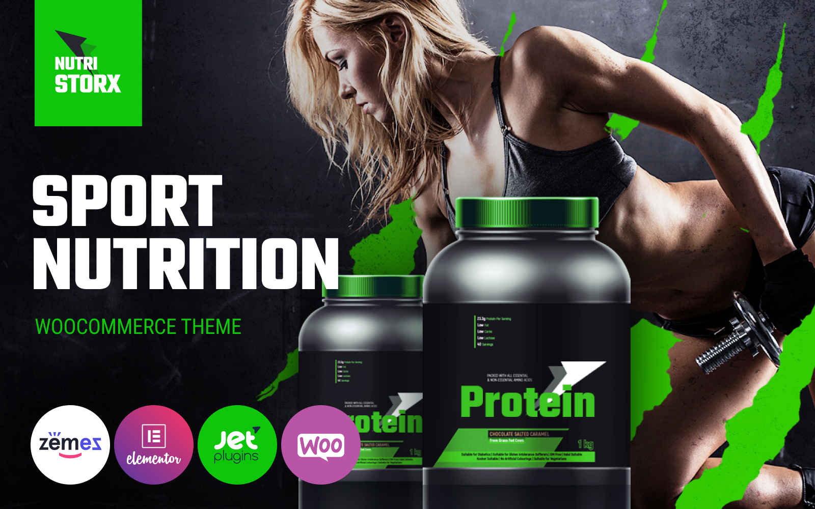 "WooCommerce Theme namens ""NutriStorx - Sports Nutrition Shop Elementor"" #83878"