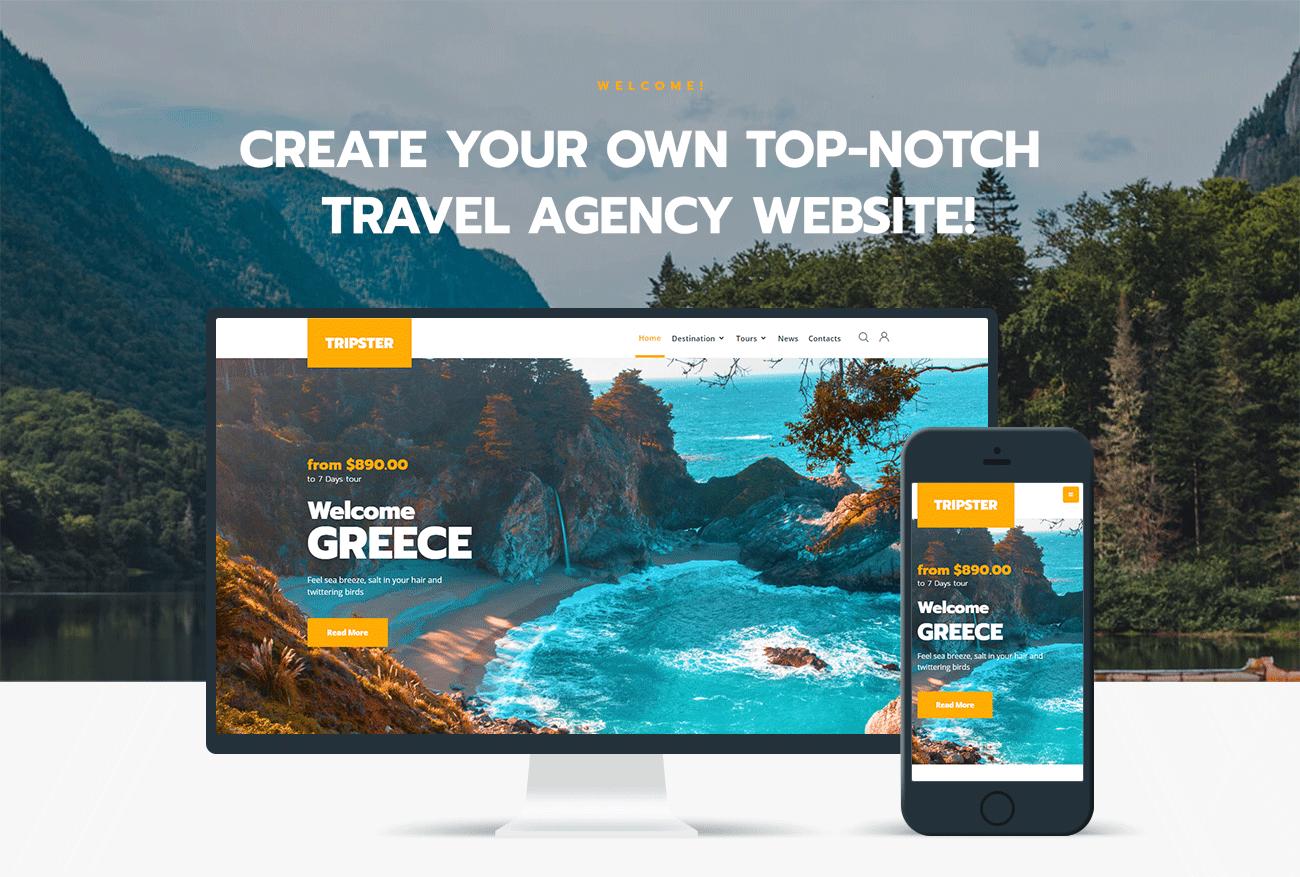 Tripster - Travel Agency Modern Elementor WordPress | Website Templates