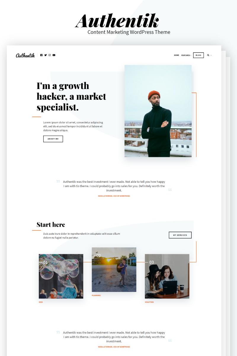 """Authentik - Blog & Content Marketing"" 响应式WordPress模板 #83989"