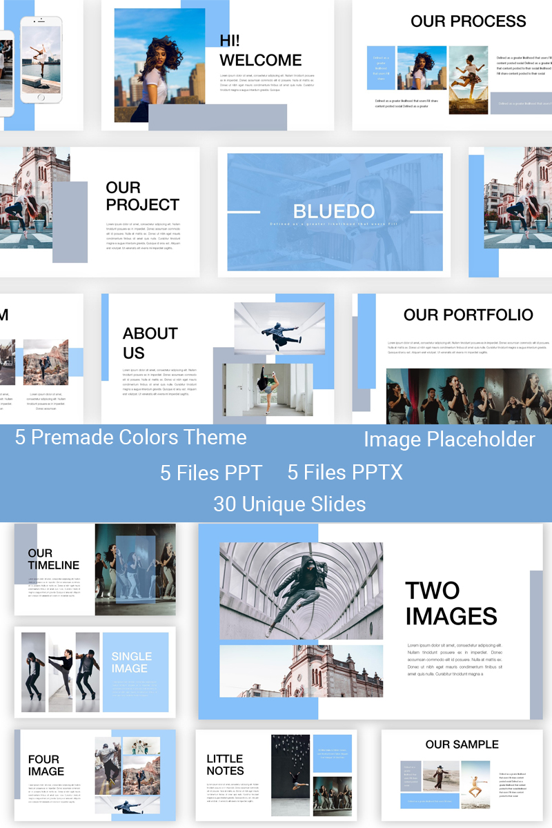 """Bluedo - Creative Dance"" - PowerPoint шаблон №83908"