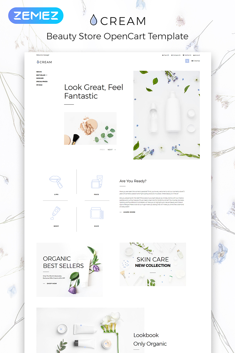"""""""Cream - Beauty Supply eCommerce Clean"""" Responsive OpenCart Template №83968"""