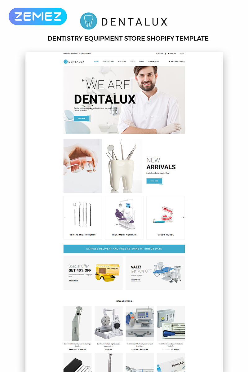 """Dentalus - Dental Store eÐ¡ommerce Clean"" 响应式Shopify模板 #83971"