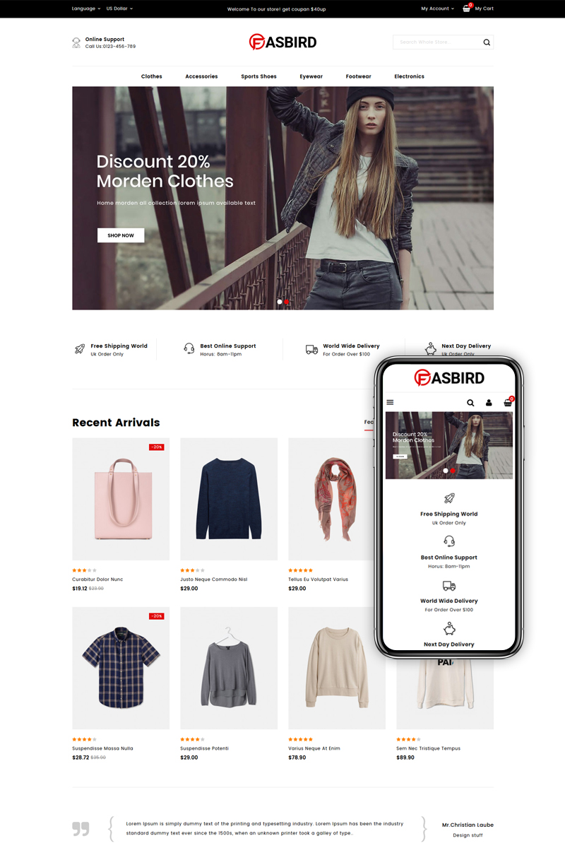 """Fasbird - Fashion Designer Store"" - адаптивний PrestaShop шаблон №83940"