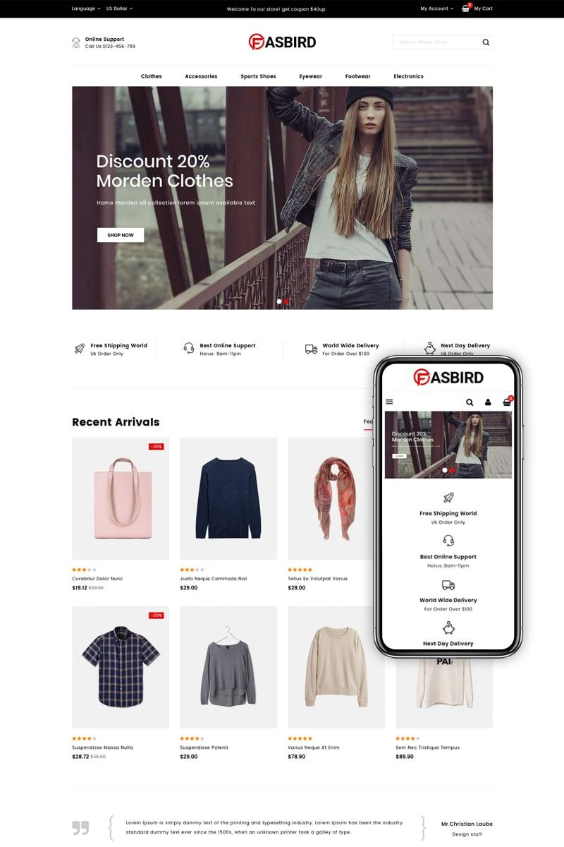 Fasbird - Fashion Designer Store Tema PrestaShop №83940