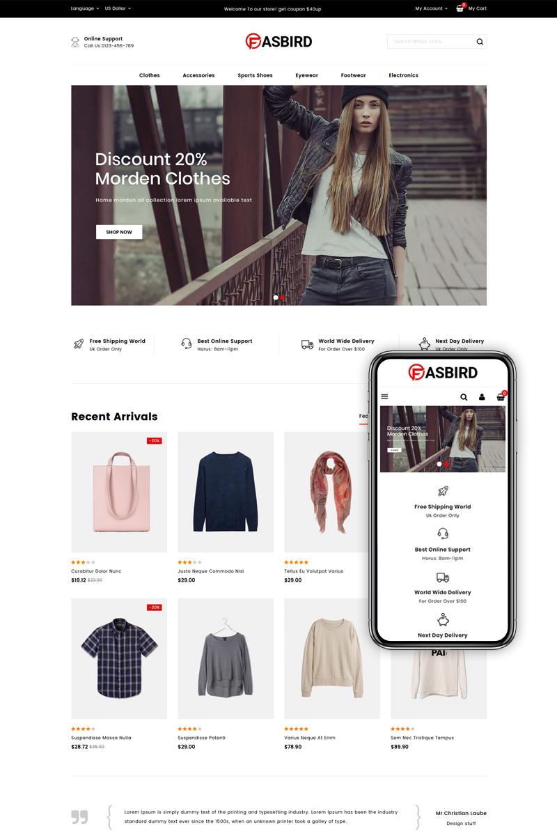 """""""Fasbird - Fashion Designer Store"""" thème PrestaShop adaptatif #83940"""