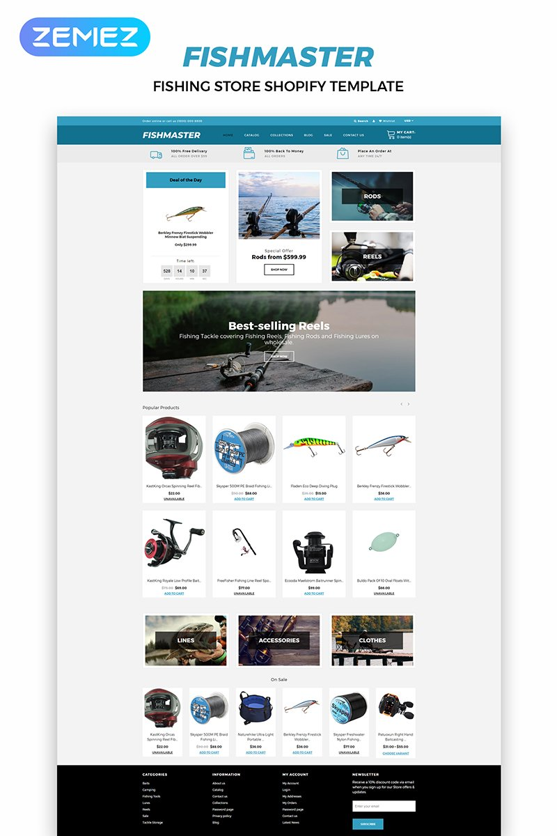 """Fishmaster - Fishing Store Multipage Modern"" thème Shopify adaptatif #83983"