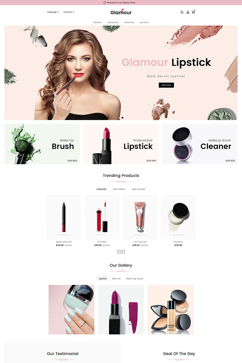 """Glamour Cosmetics"" Responsive OpenCart Template №83939"