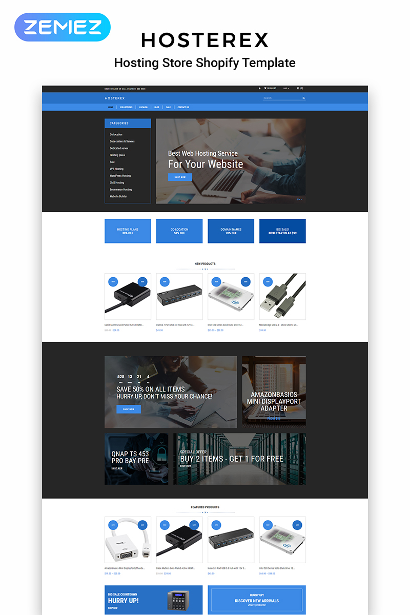 """Modello Shopify Responsive #83975 """"Hosterex - Hosting Multipage Creative"""""""