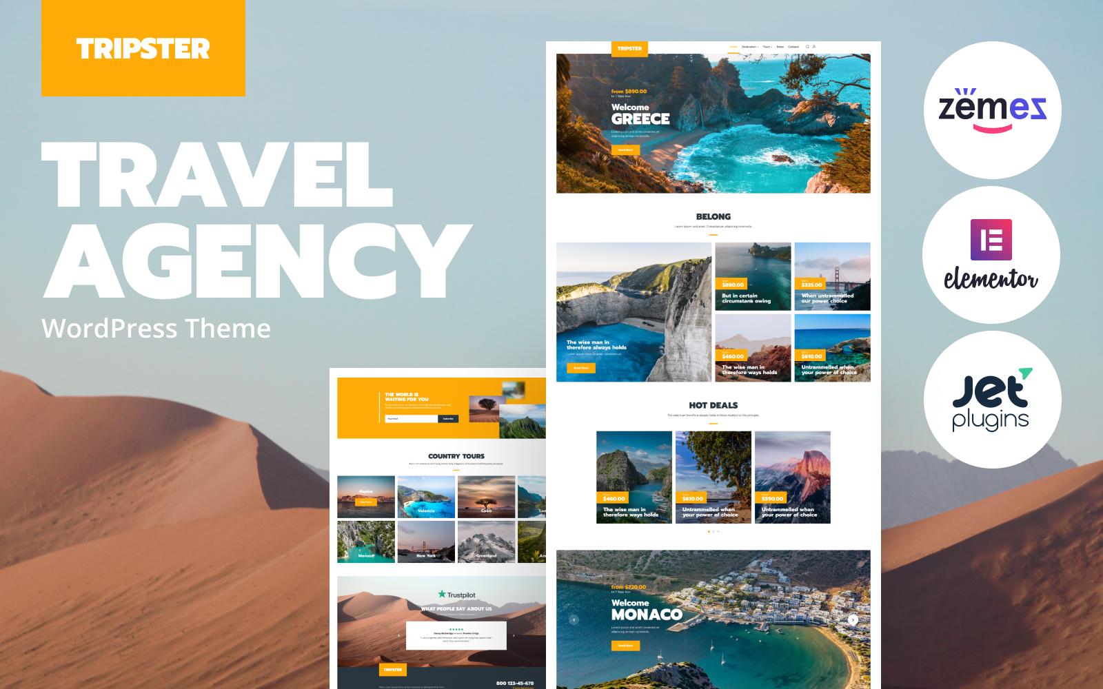"""Modello WordPress Responsive #83930 """"Tripster - Travel Agency Modern Elementor"""""""