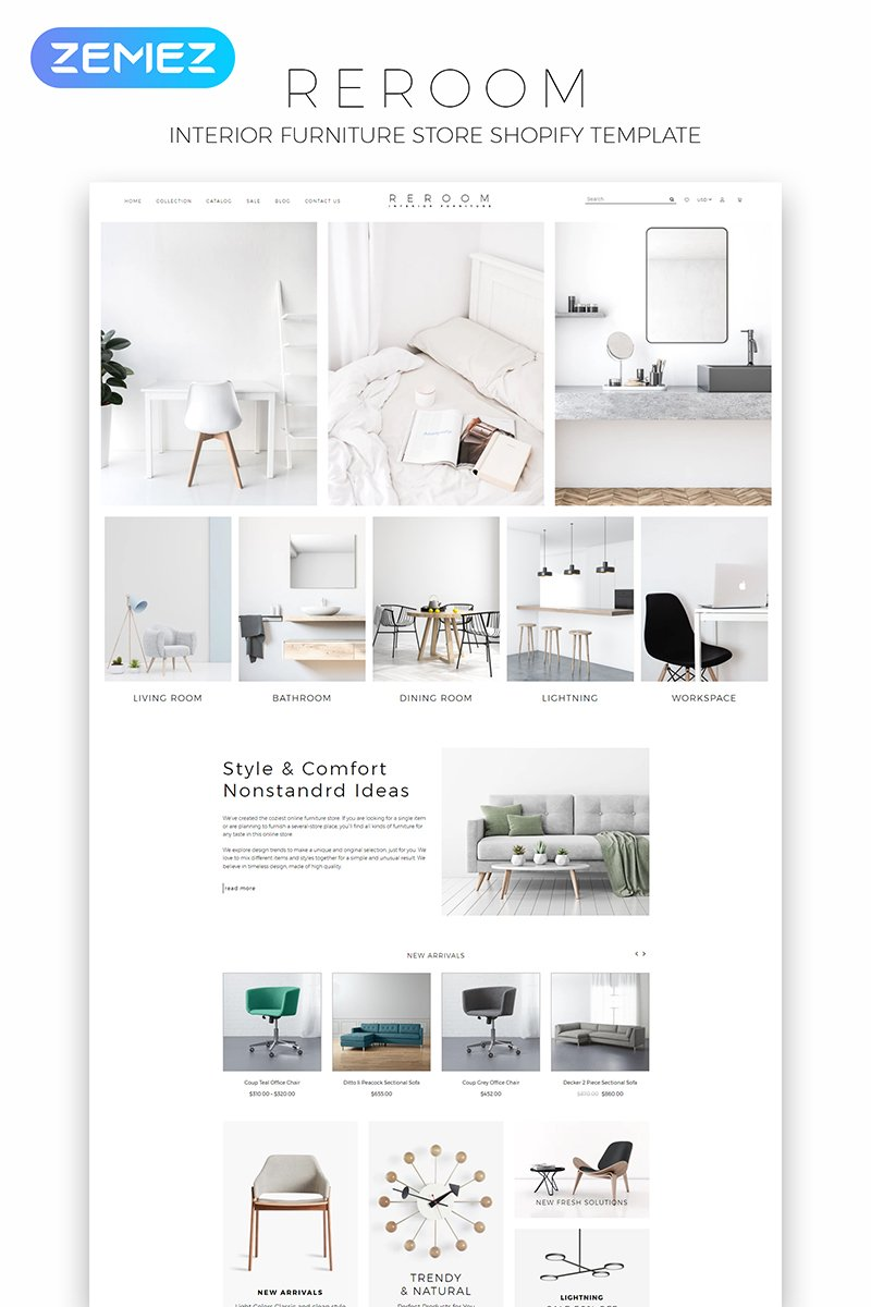 Reroom - Furniture Store Multipage Clean Shopify Theme - screenshot