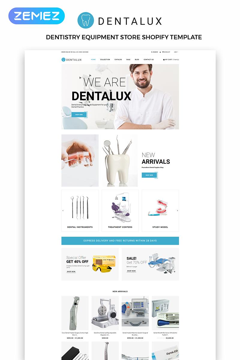 Responsivt Dentalus - Dental Store eСommerce Clean Shopify-tema #83971