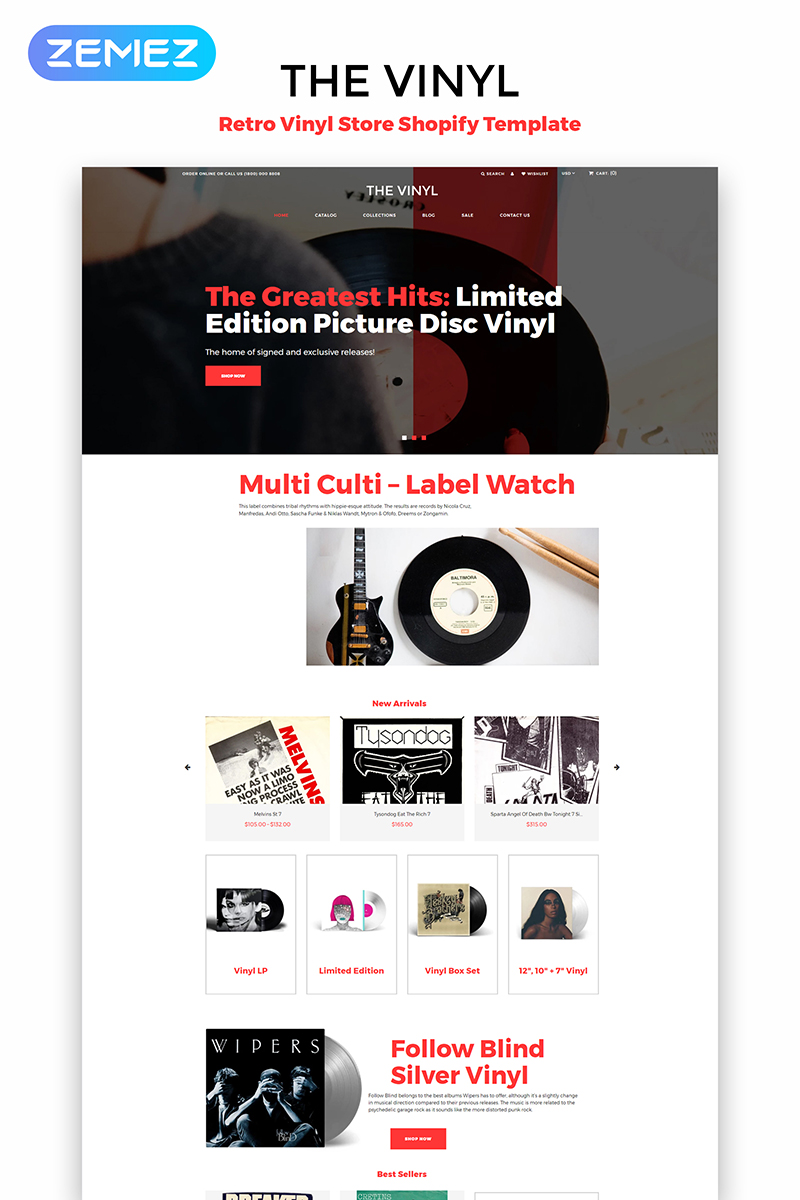 "Shopify Theme namens ""The Vinyl - Music Store eCommerce Creative"" #83973"