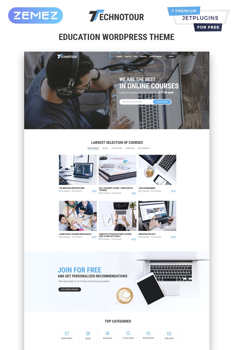 Technotour - Education Courses Minimal Elementor WordPress sablon 83931