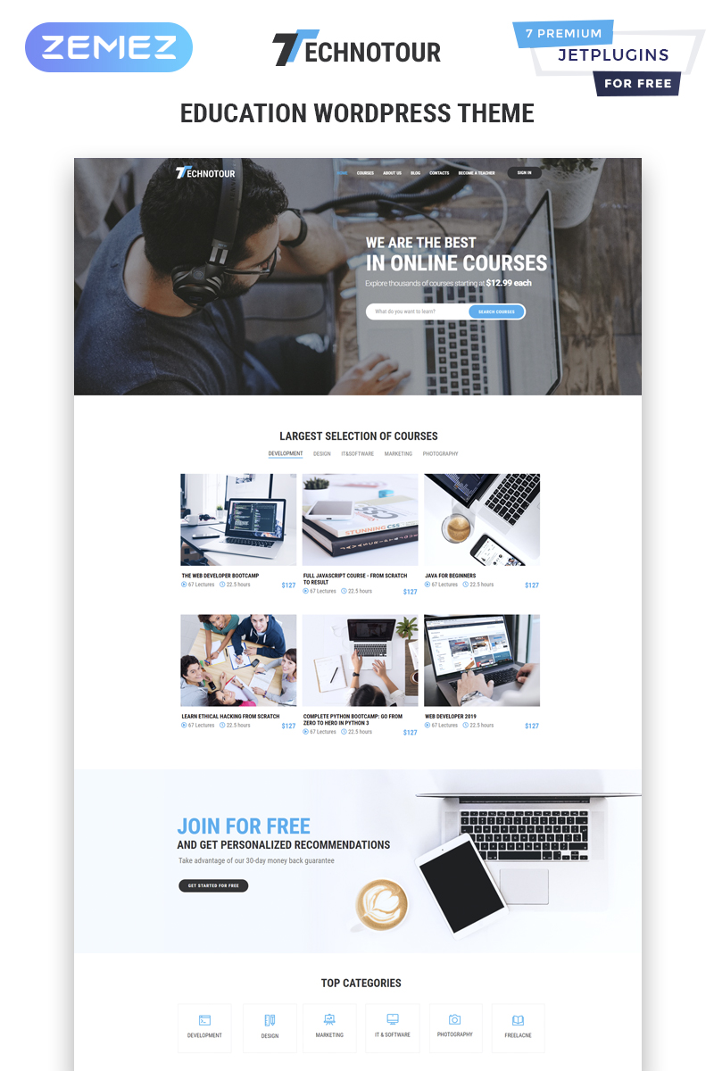 Technotour - Education Courses Minimal Elementor WordPress-tema #83931