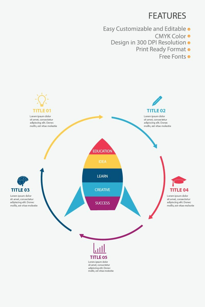 "Tema Elementi infografici #83997 ""Rocket Education"""