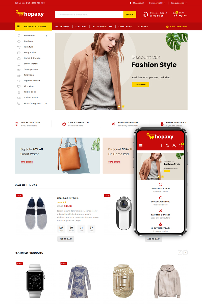 "Tema PrestaShop Responsive #83943 ""Shopaxy - Multipurpose Store"""