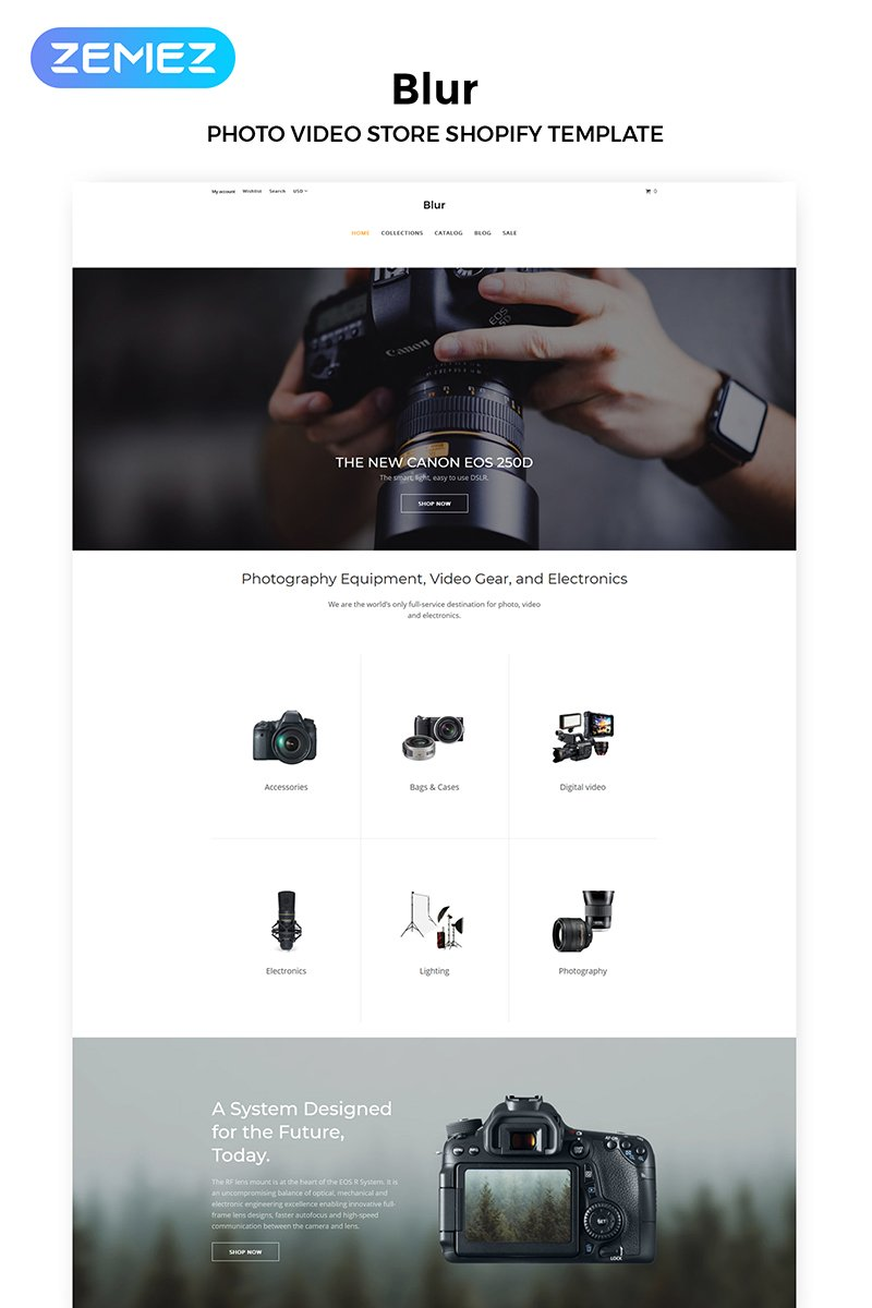 """Tema Shopify Responsive #83970 """"Blur - Electronics Store Multipage Clean"""""""