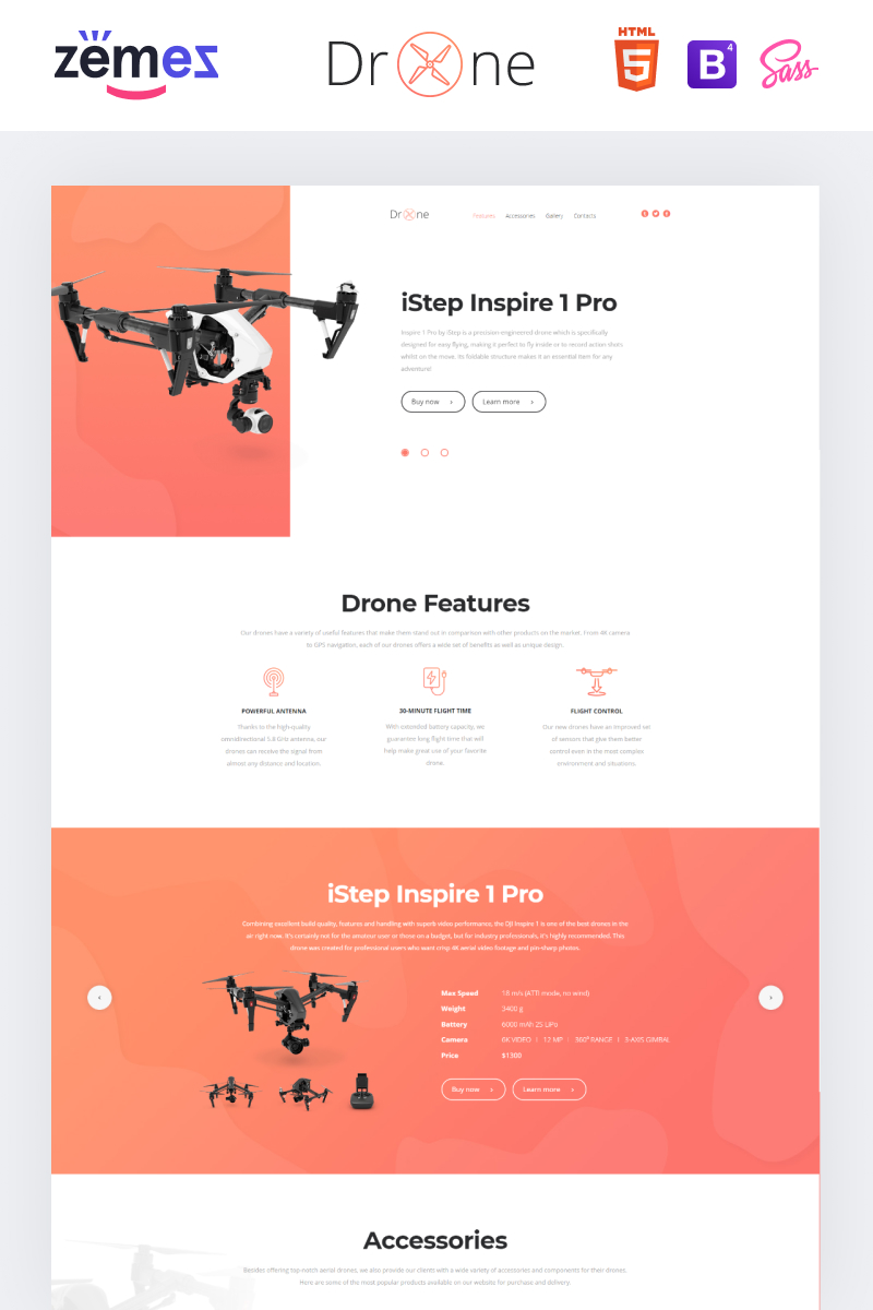 """Template di Landing Page Responsive #83905 """"Drone - Electronics Clean HTML Bootstrap"""""""