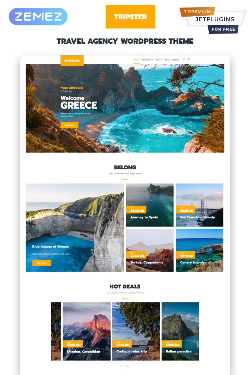 Tripster - Travel Agency Modern Elementor WordPress-tema #83930