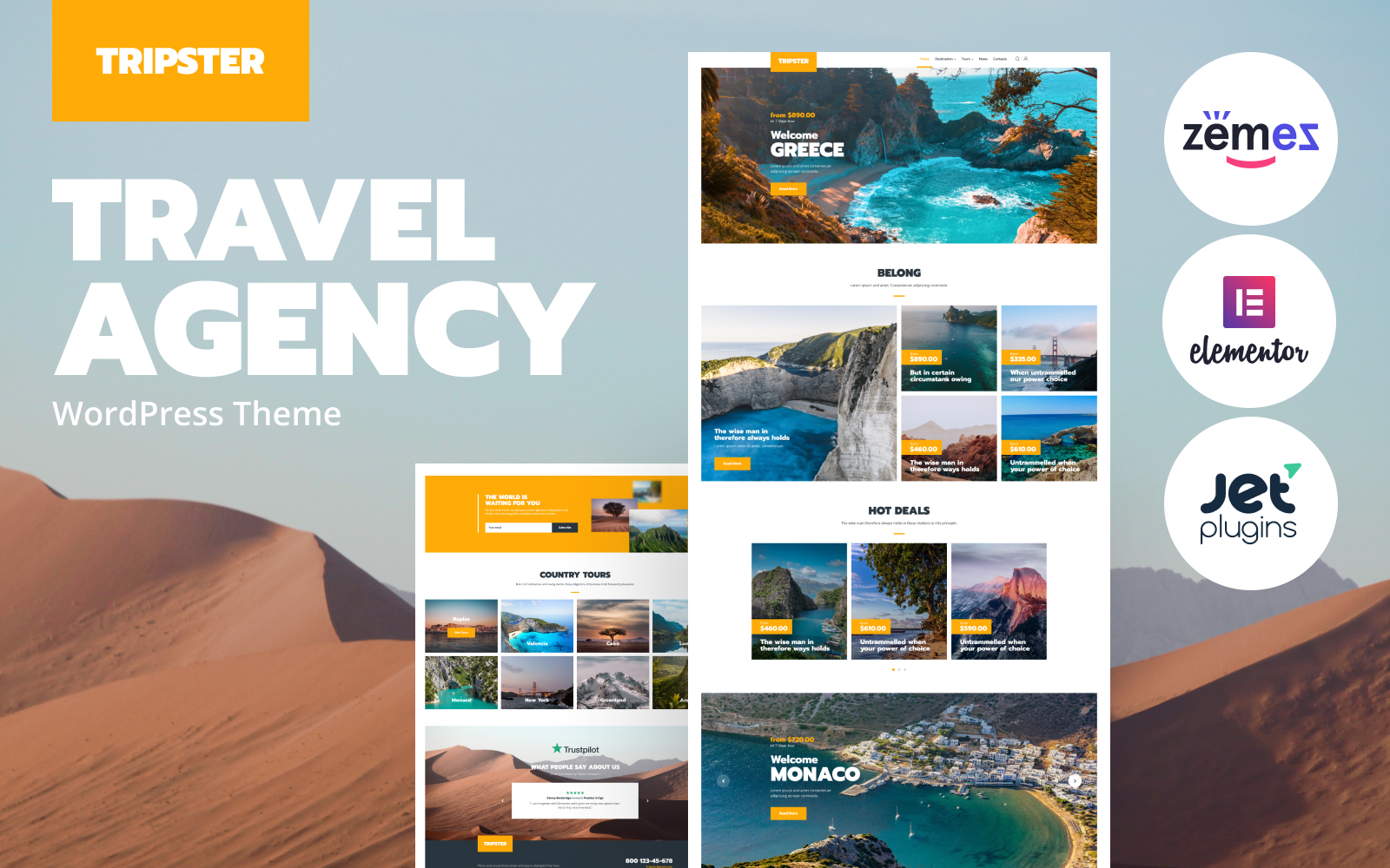 """Tripster - Travel Agency Modern Elementor"" 响应式WordPress模板 #83930"
