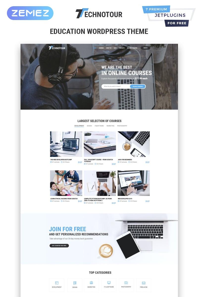 """WordPress Theme namens """"Technotour - Education Courses Minimal Elementor"""" #83931"""