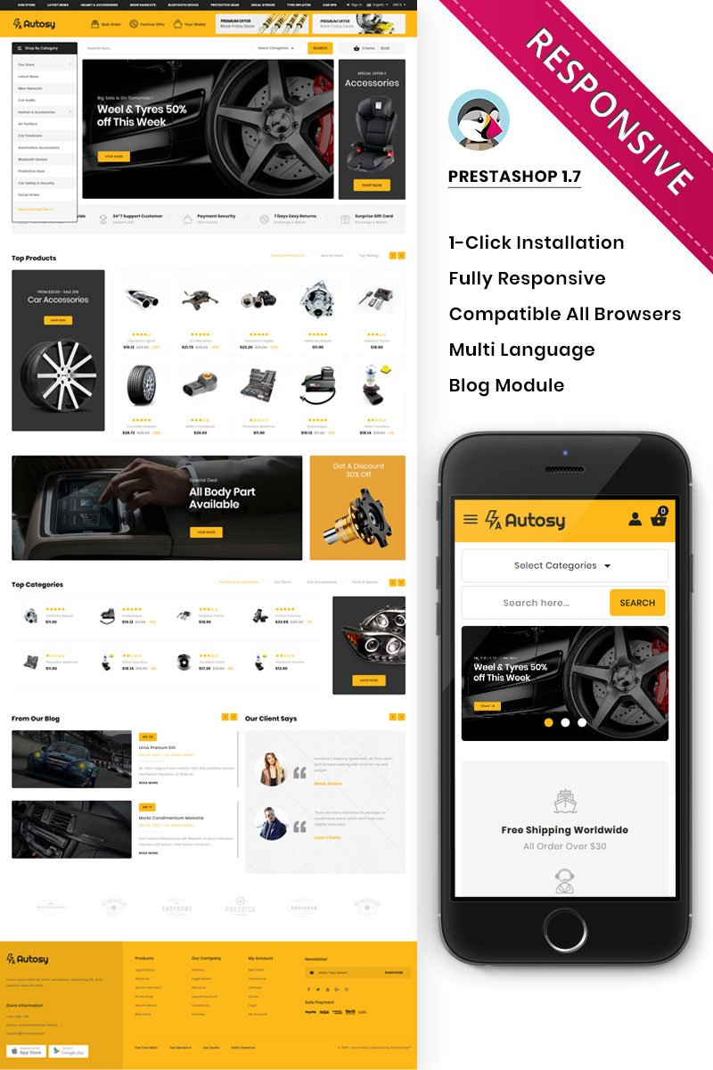 Autory - The Mega Automobile Store PrestaShop sablon 84078