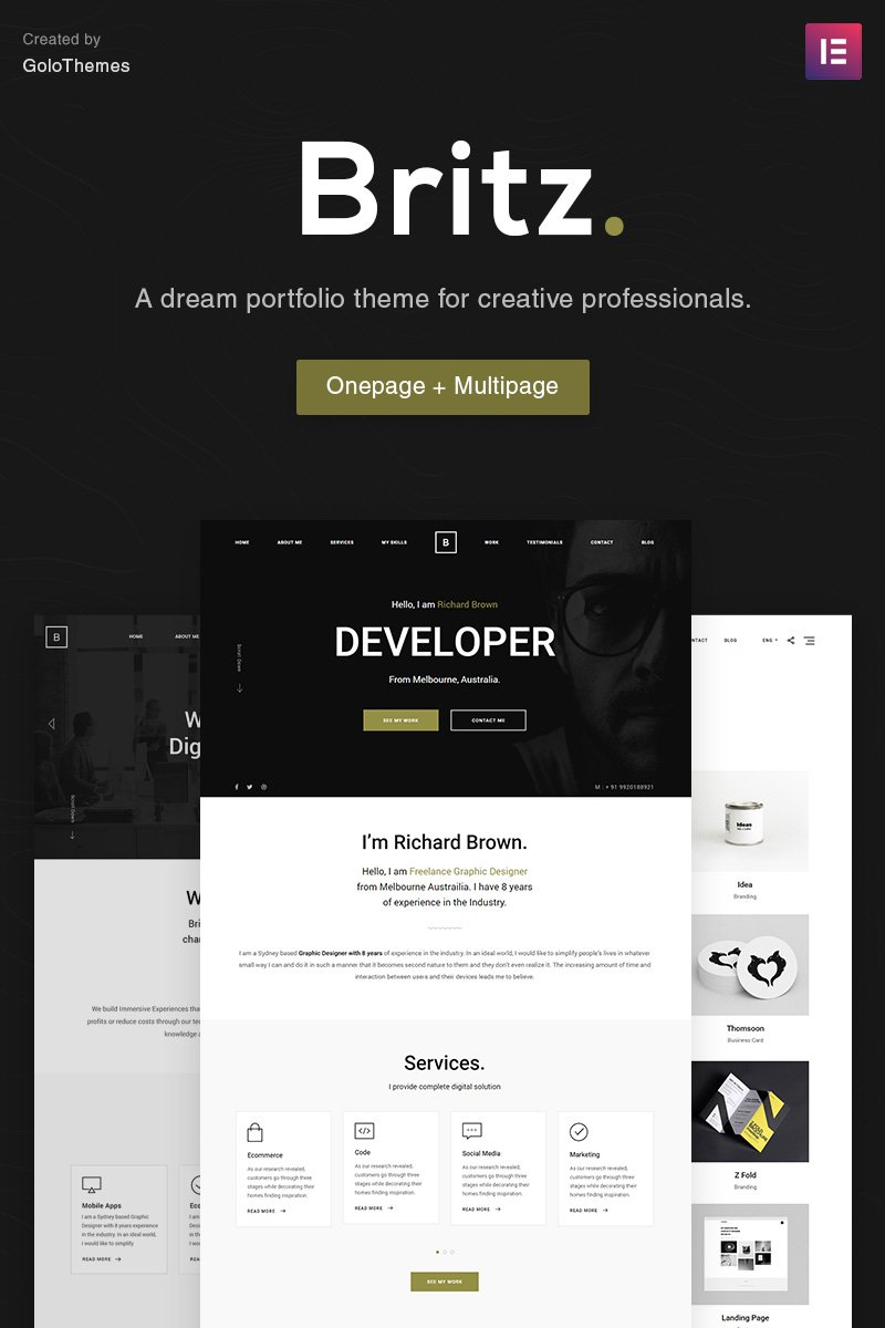 """Britz - Minimal Onepage and Multipage Portfolio"" Responsive WordPress thema №84030"