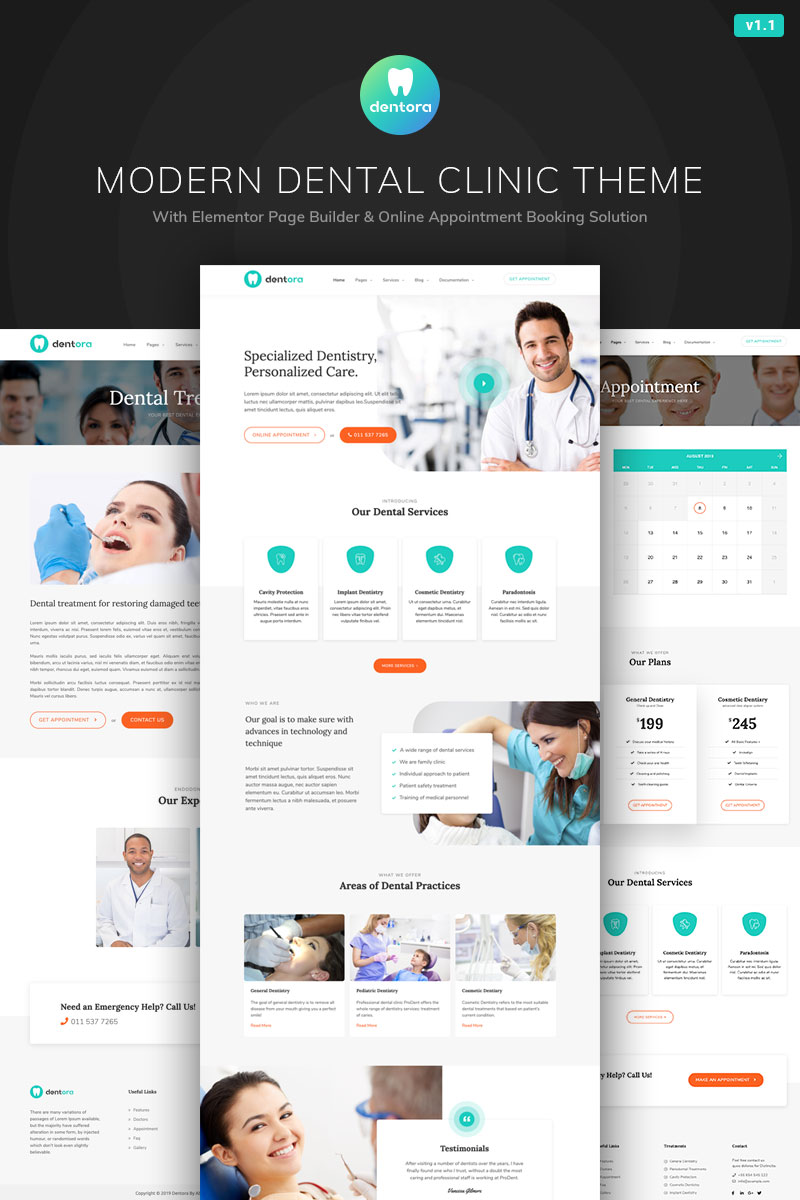 Dentora - Dental Clinic Elementor Tema WordPress №84026