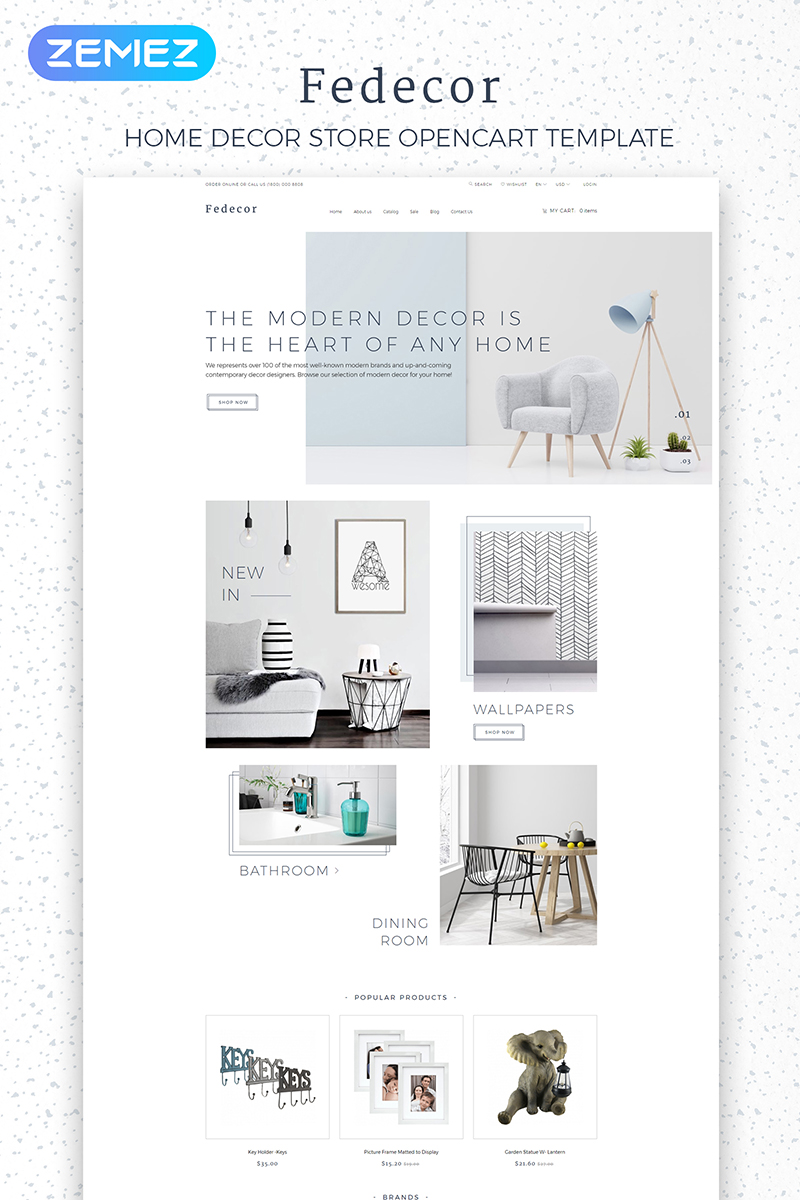 """Fedecor - Interior Design Multipage Clean"" Responsive OpenCart Template №84010 - screenshot"