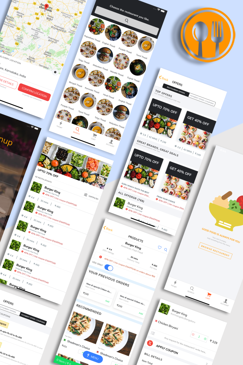 """Food Ordering"" modèle d'application adaptatif #84049 - screenshot"