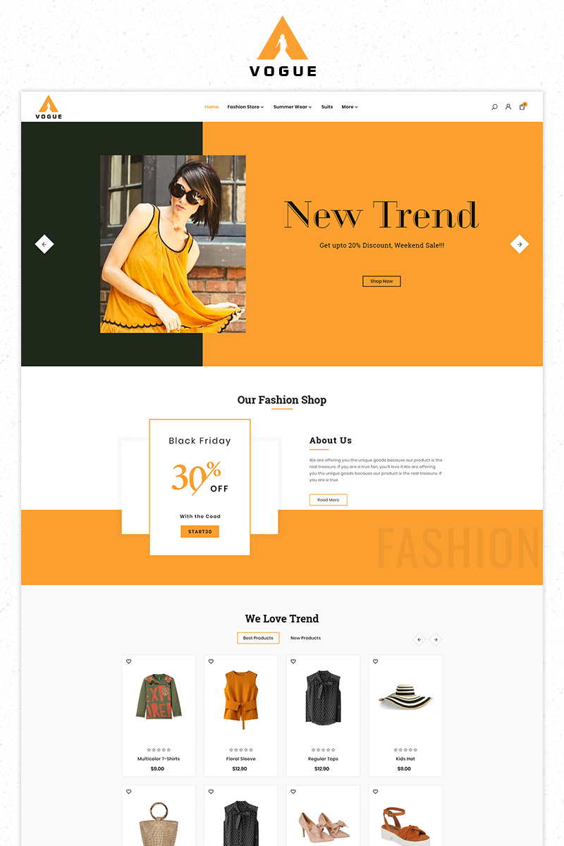 Free Vogue Fashion Store Premium Tema PrestaShop №84089