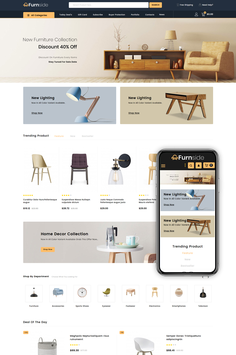 """Furnside - Furniture Store"" - адаптивний PrestaShop шаблон №84005"