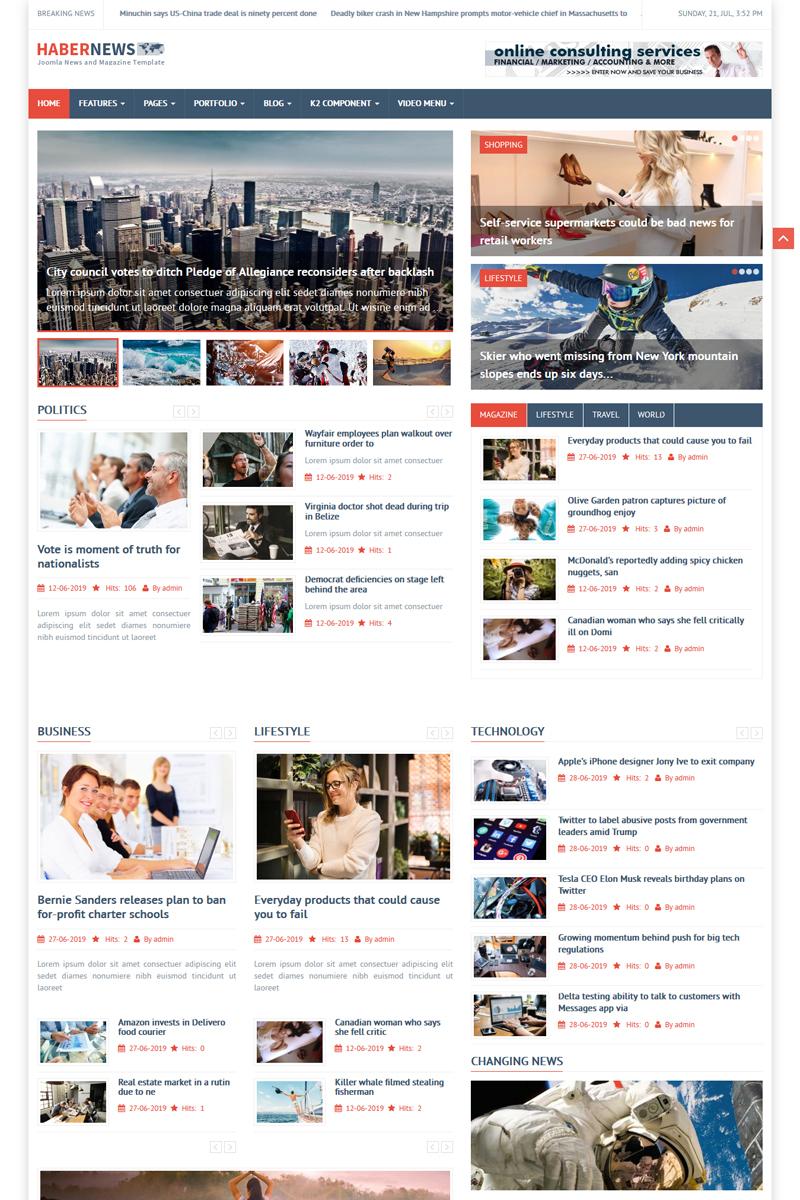 """Habernews"" - Joomla шаблон №84038"