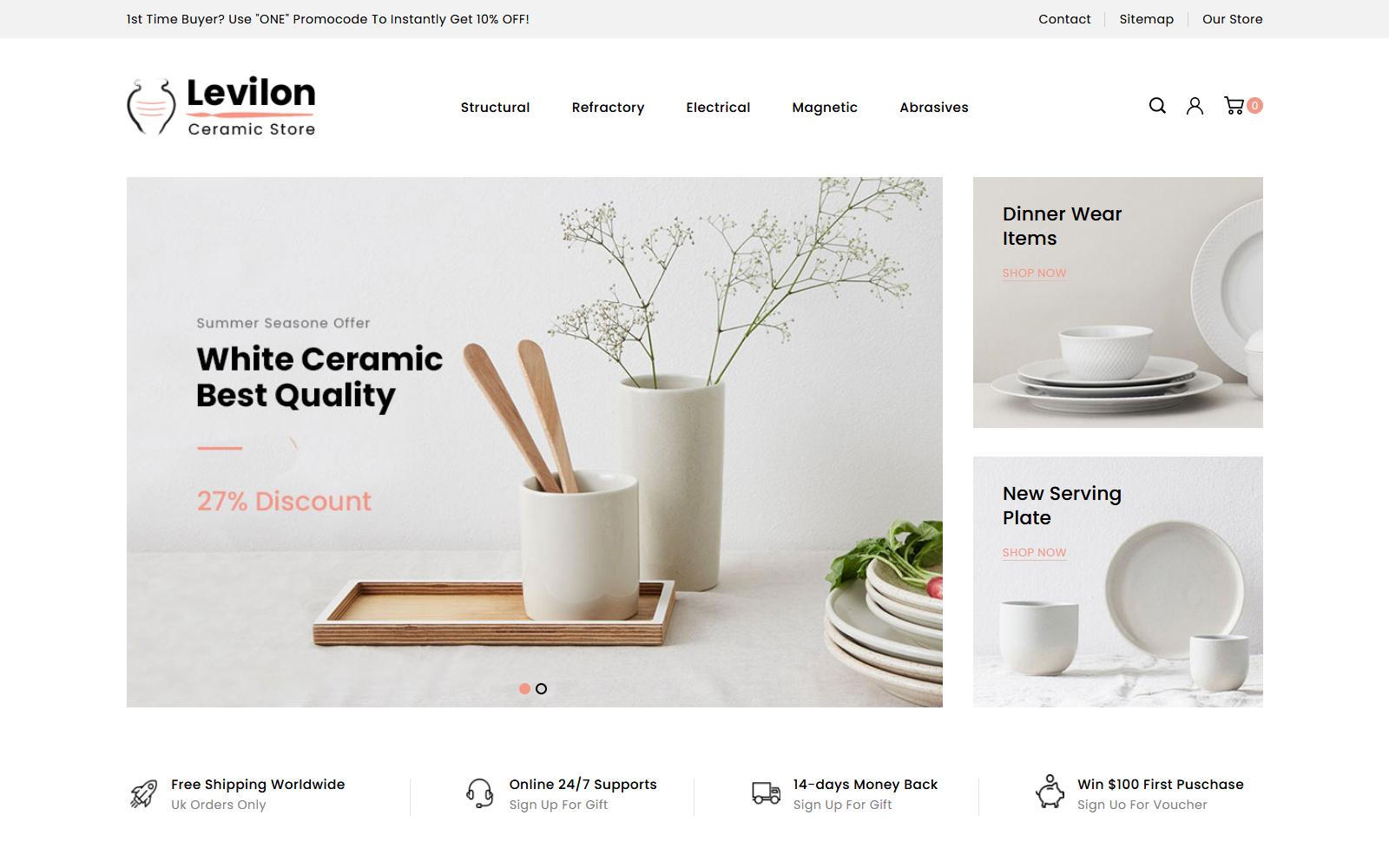 """Levilon - Ceramic Store"" - адаптивний PrestaShop шаблон №84008"